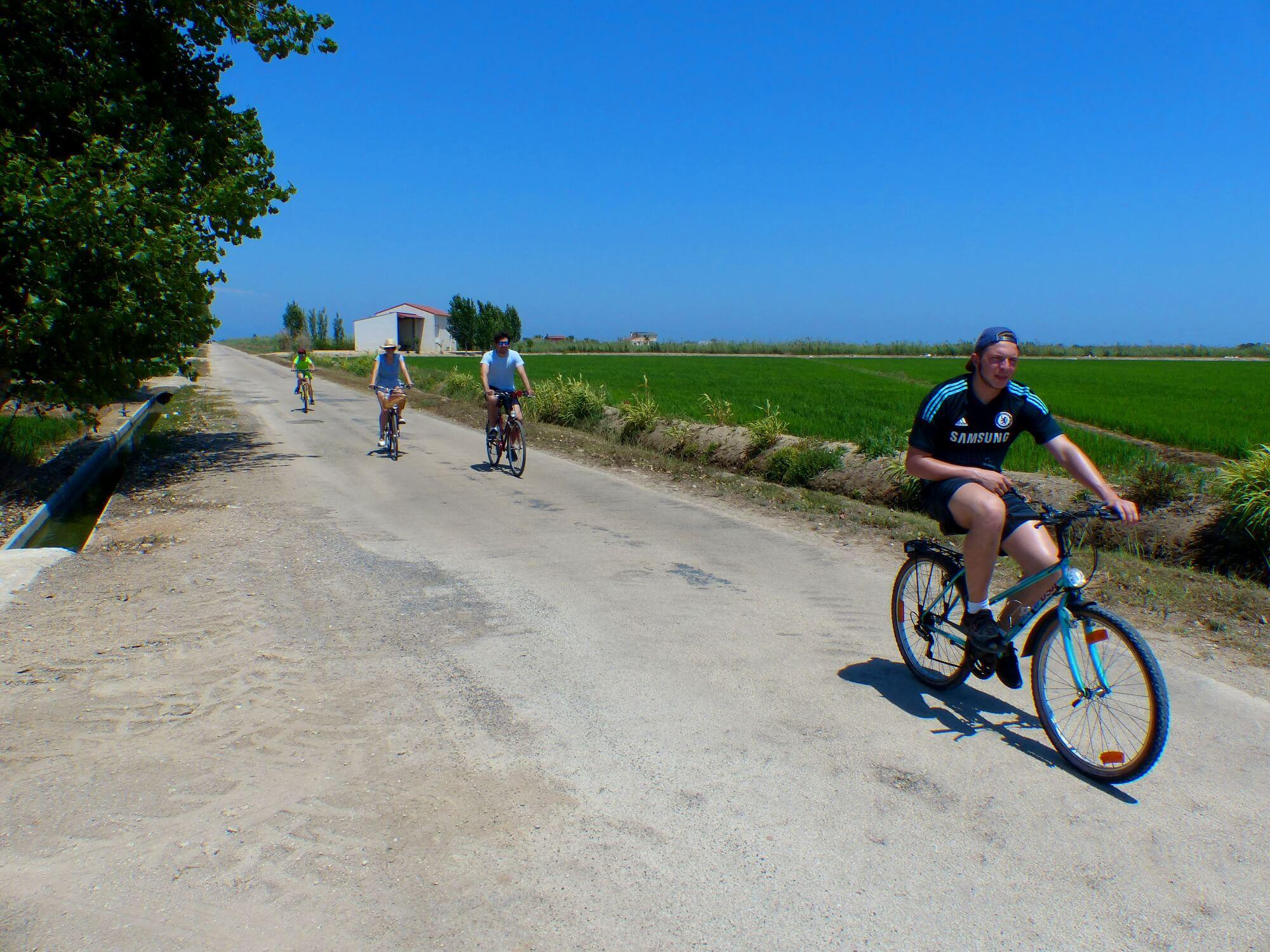 Junge Leute untewegs auf Fahrrädern, durch die grünen Reisfelder des Deltas