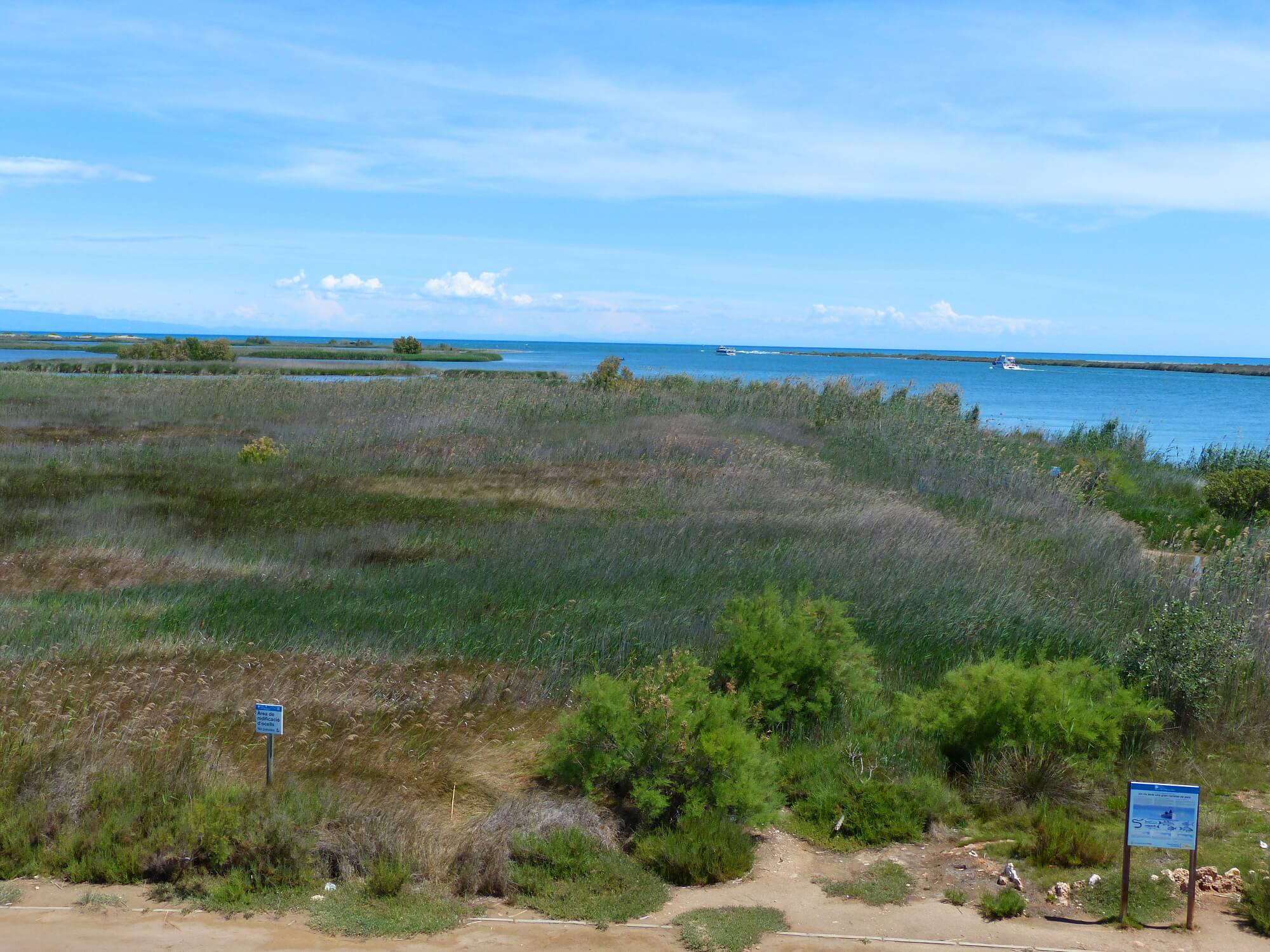 """Blick auf die Mündung des Ebros ins Mittelmeer, am Rande des """"Parc Natural del Delta de l'Ebre"""""""